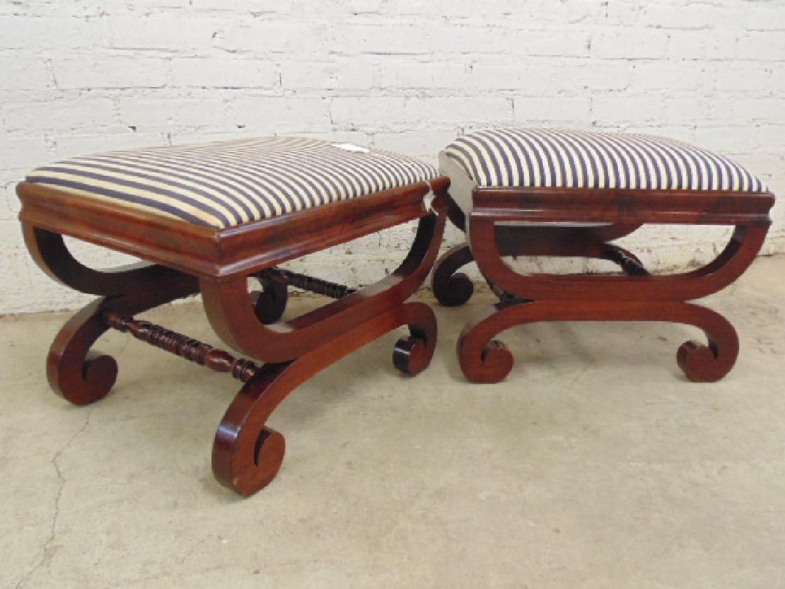 Pair Empire 19th century mahogany foot stools - 2