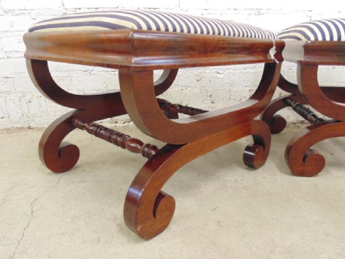 Pair Empire 19th century mahogany foot stools - 3