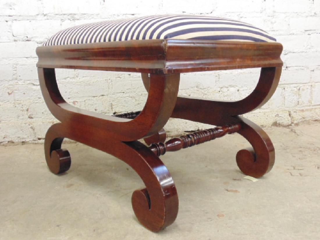 Pair Empire 19th century mahogany foot stools - 5