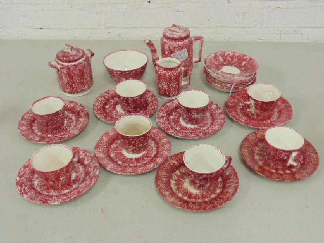 Red stick spatterware Staffordshire childs tea set