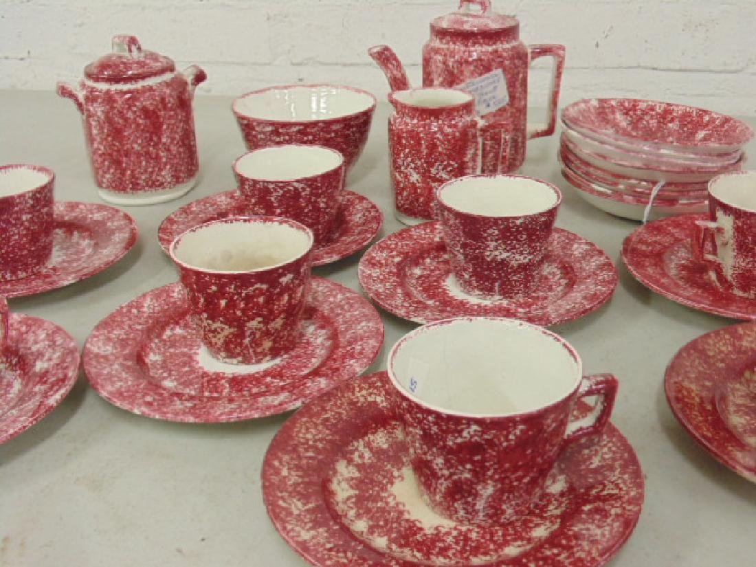 Red stick spatterware Staffordshire childs tea set - 2