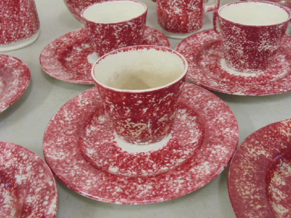 Red stick spatterware Staffordshire childs tea set - 3