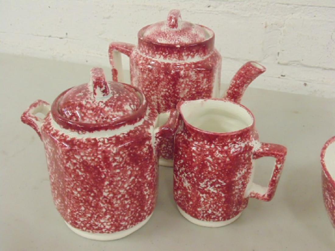 Red stick spatterware Staffordshire childs tea set - 4