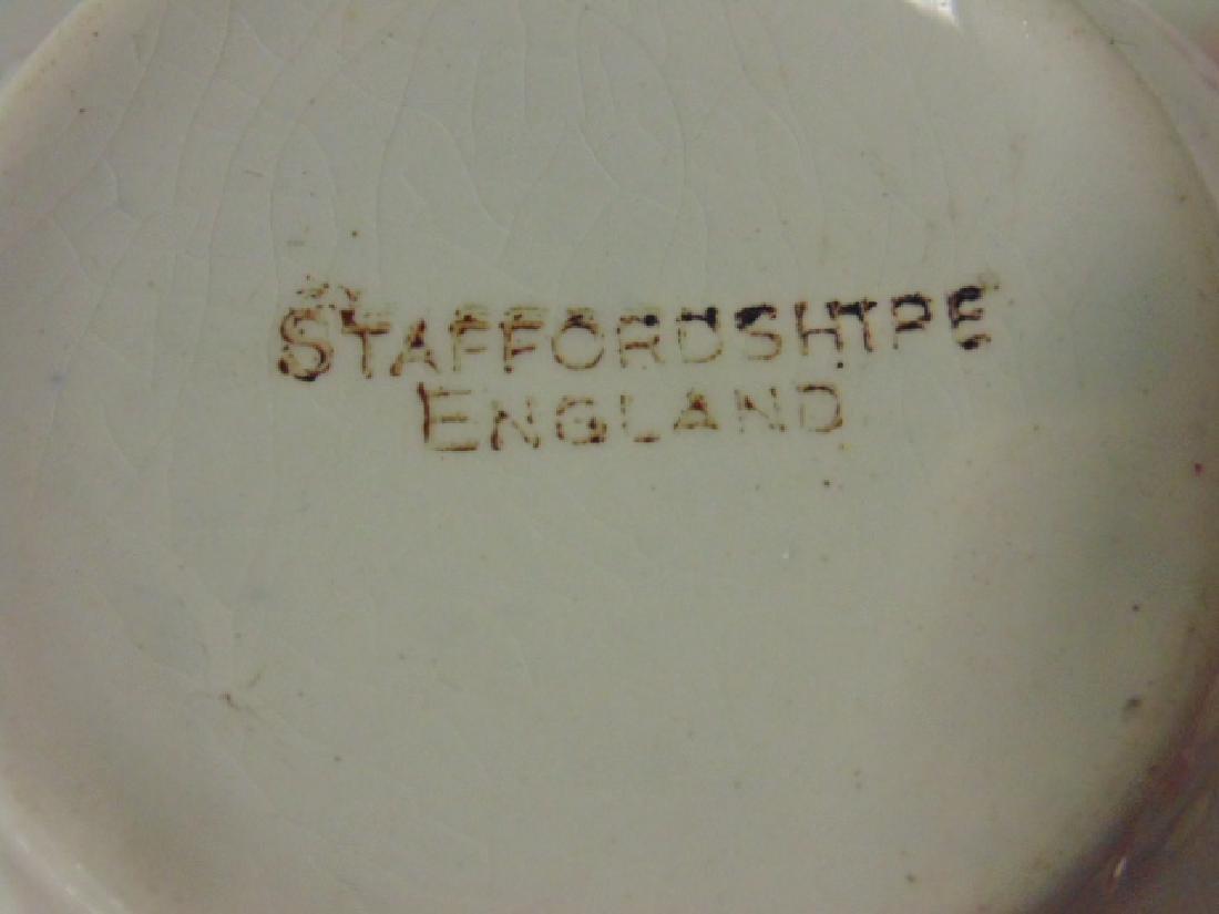 Red stick spatterware Staffordshire childs tea set - 5