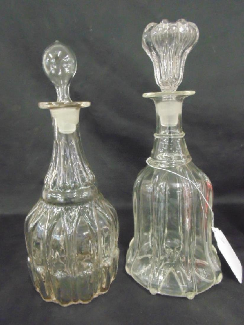 Lot of 7 early glass decanters - 2
