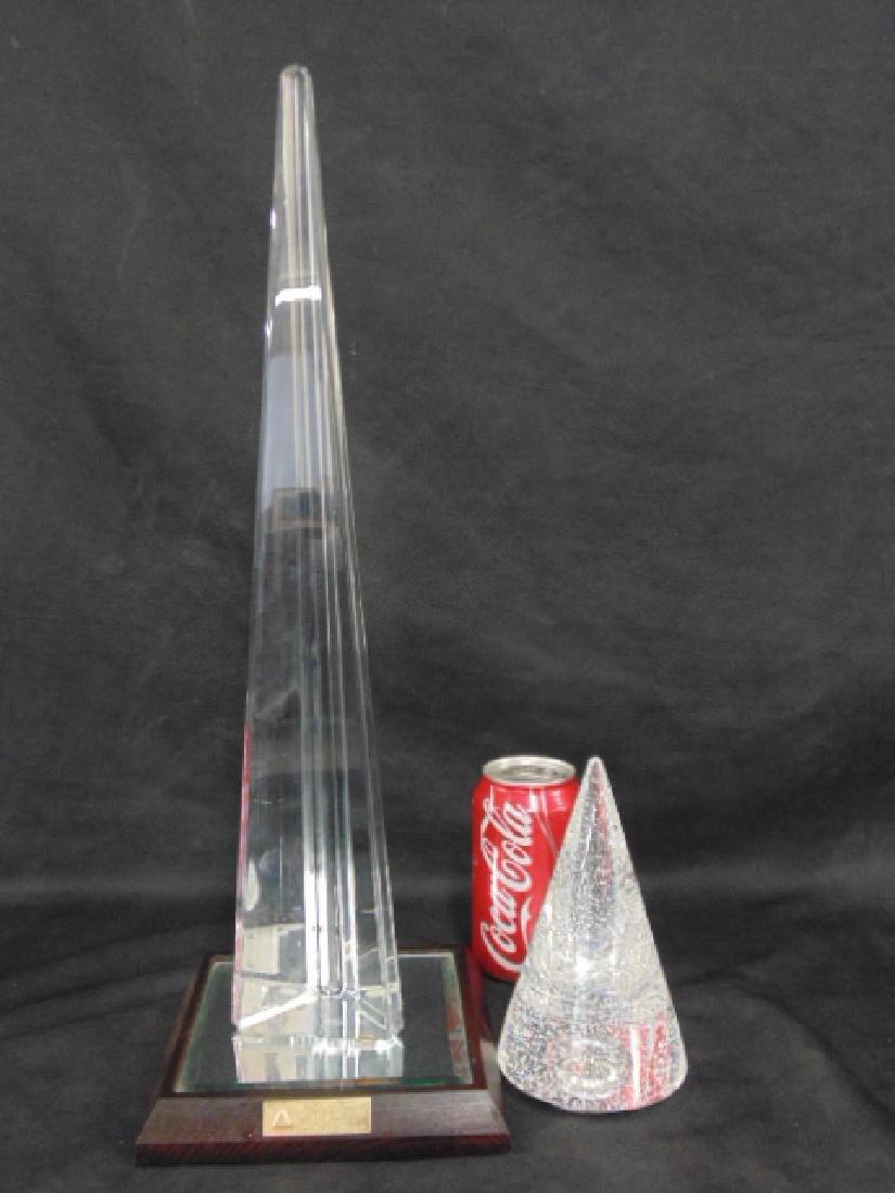 Crystal Baccarat obelisk & Steuben cone