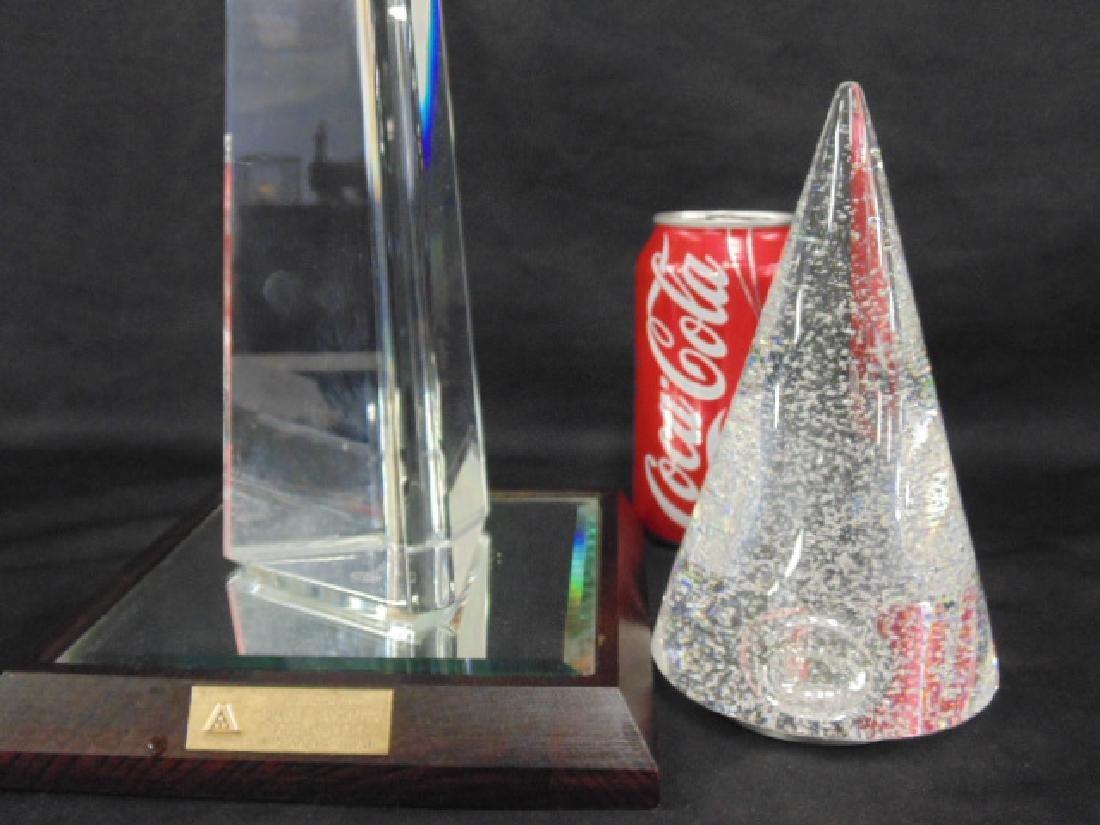 Crystal Baccarat obelisk & Steuben cone - 2