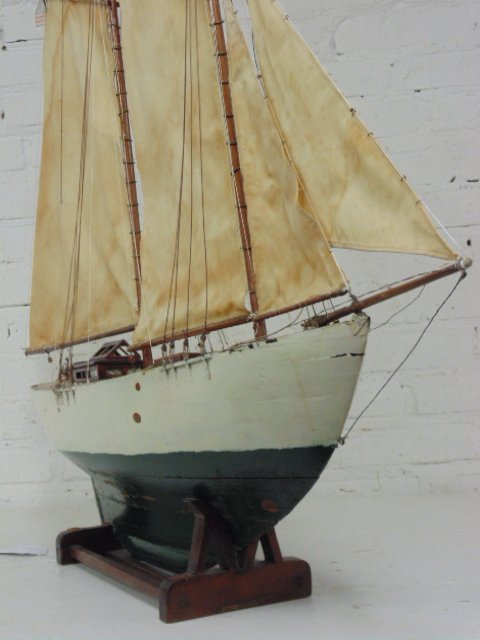"Pondsailer, white & green painted hull, length is 35"", - 10"