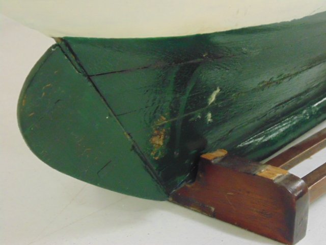 "Pondsailer, white & green painted hull, length is 35"", - 6"