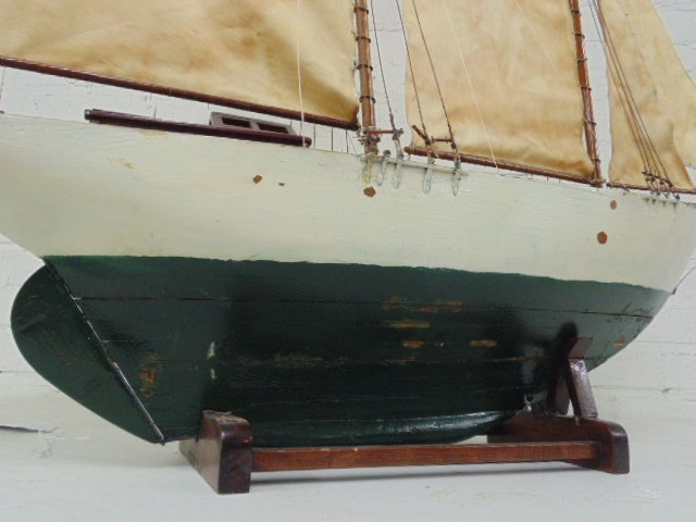 "Pondsailer, white & green painted hull, length is 35"", - 9"