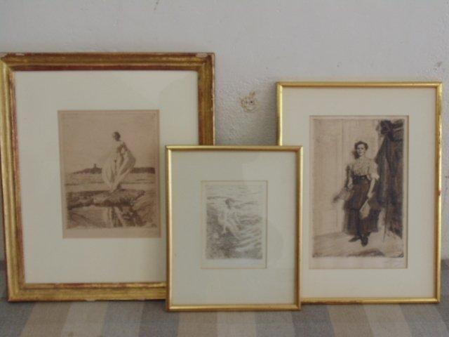 3 etchings, nudes, Anders Zorn