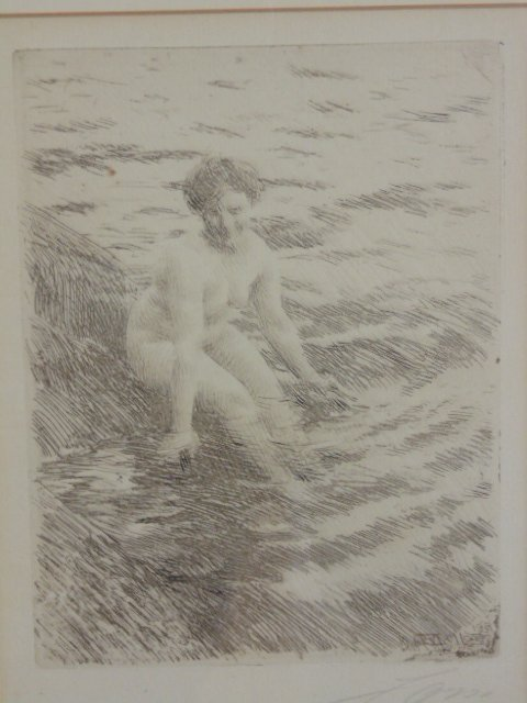 3 etchings, nudes, Anders Zorn - 2