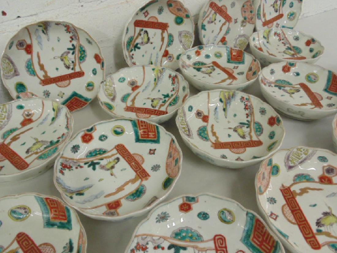 17 Chinese porcelain bowls,  birds, symbol - 2