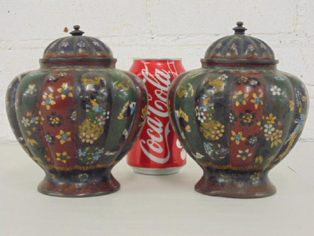 2 Asian cloisonne jars with lids