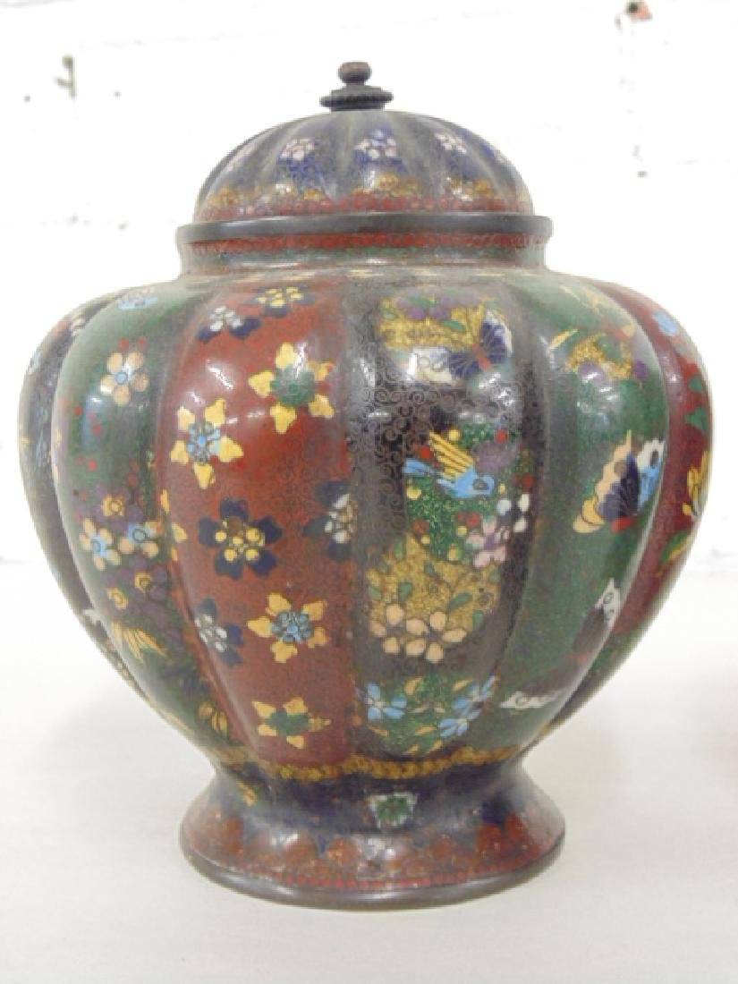 2 Asian cloisonne jars with lids - 2
