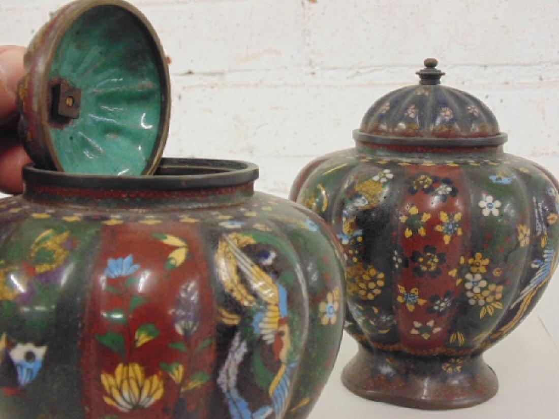 2 Asian cloisonne jars with lids - 5