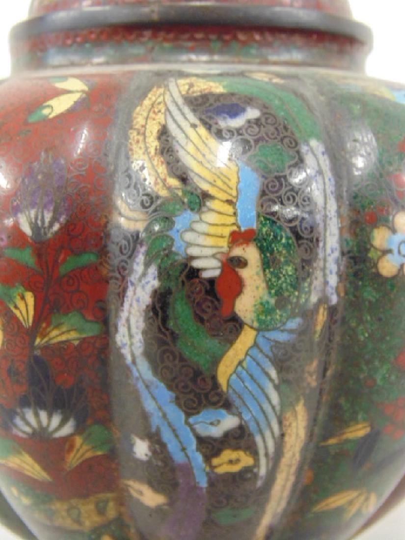 2 Asian cloisonne jars with lids - 7