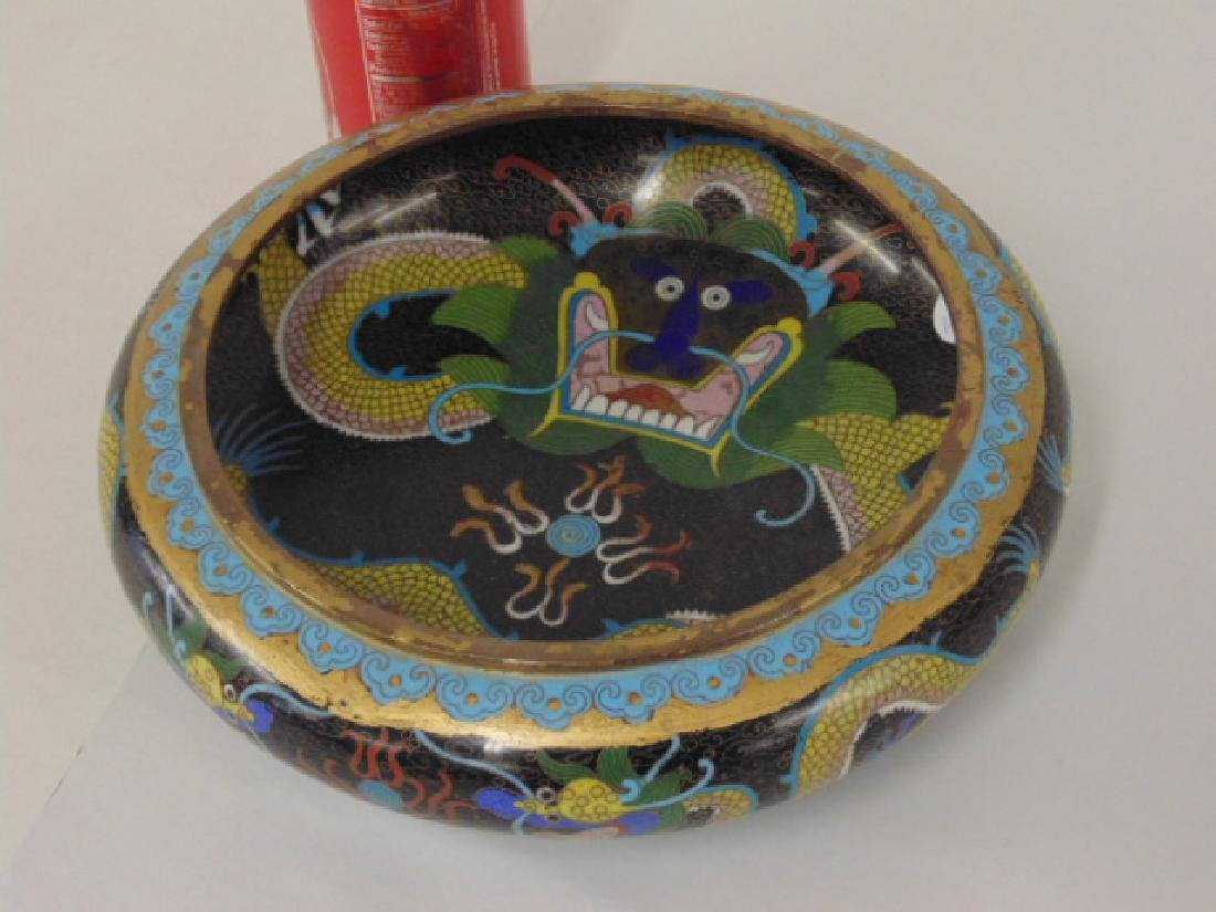 Asian cloisonne bowl with dragon