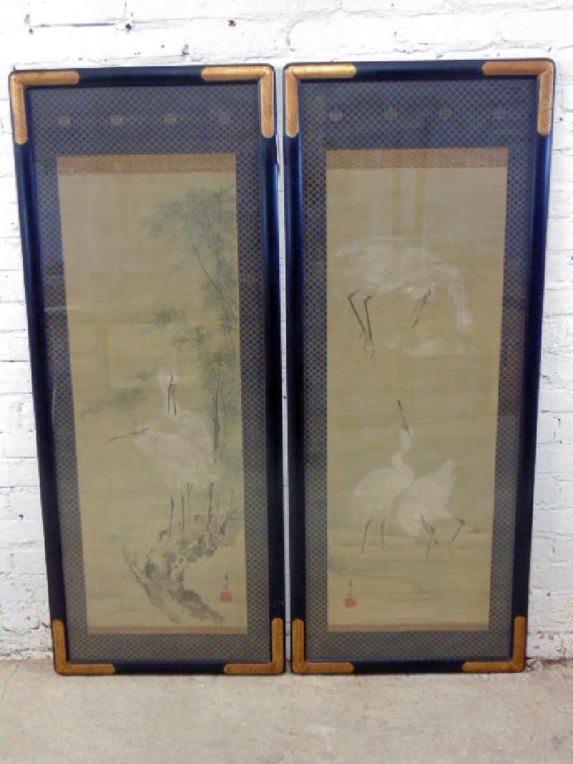Pair Chinese watercolors, storks