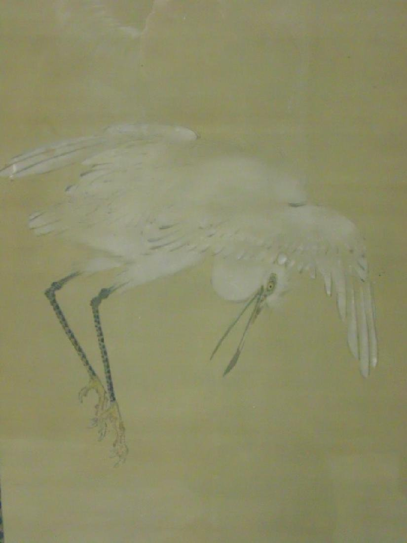 Pair Chinese watercolors, storks - 3