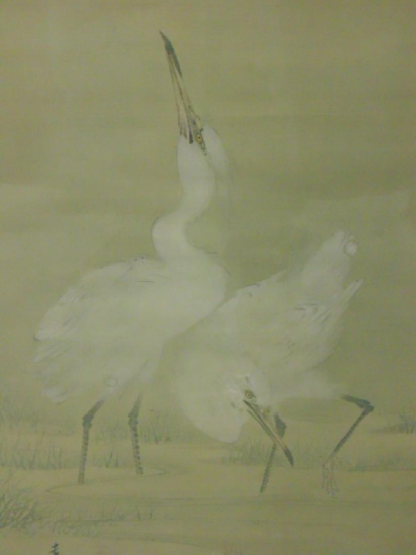 Pair Chinese watercolors, storks - 4