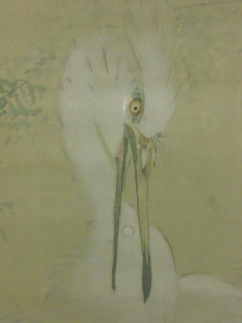 Pair Chinese watercolors, storks - 7