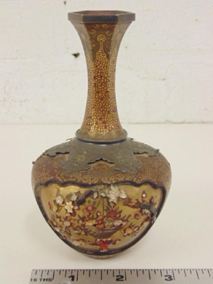 Japanese Shibayama lacquer vase