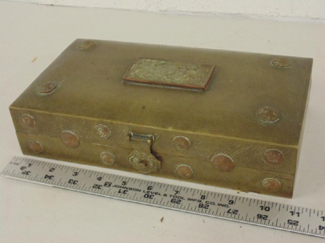 Brass Asian box, textured patina