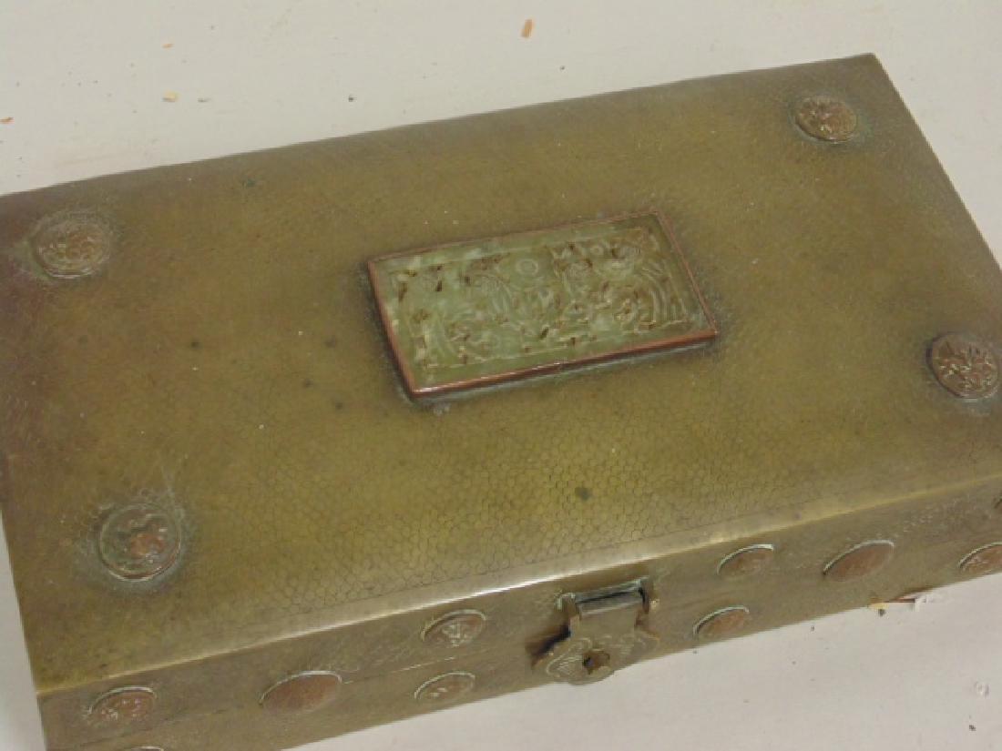 Brass Asian box, textured patina - 2