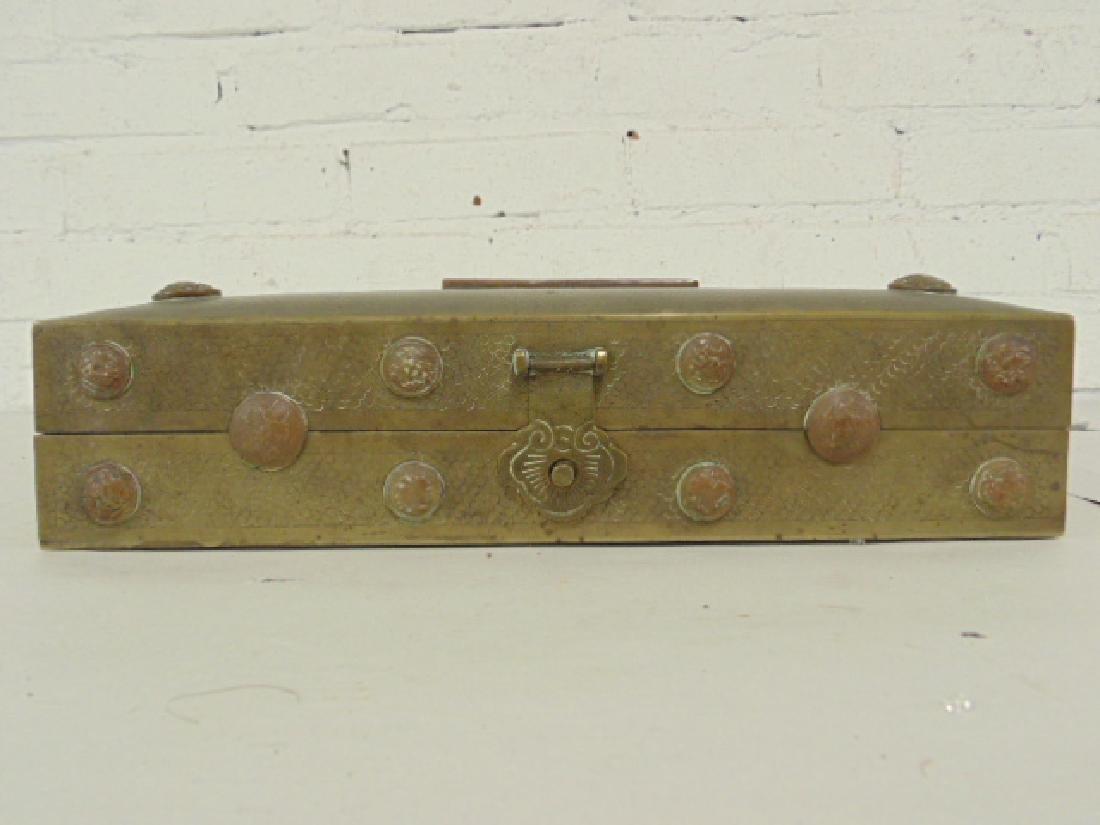 Brass Asian box, textured patina - 5