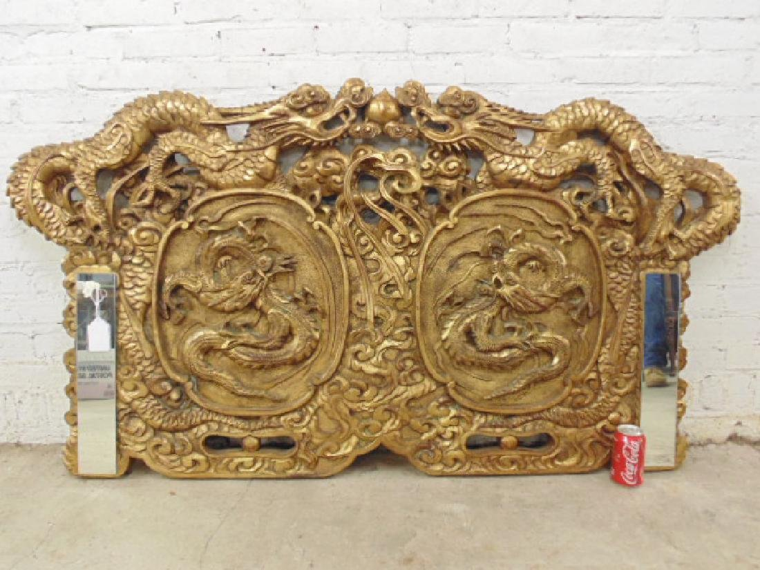 Chinese carved panel with dragons