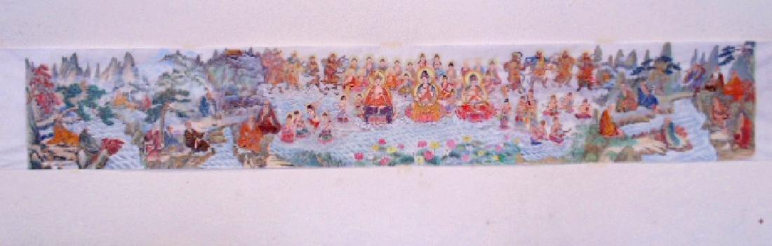 Tibet mural on paper, figures, Buddha's, deities