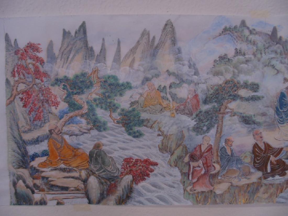 Tibet mural on paper, figures, Buddha's, deities - 2