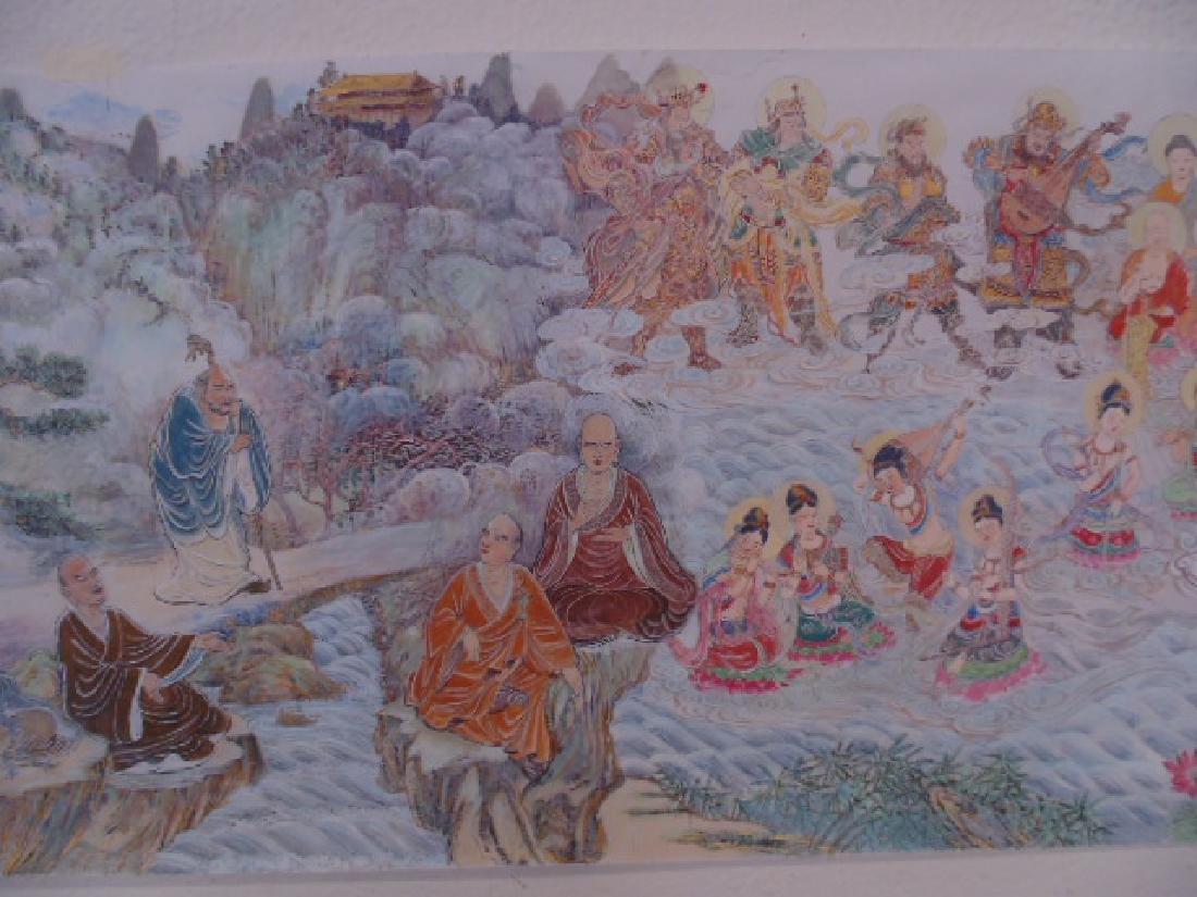 Tibet mural on paper, figures, Buddha's, deities - 3