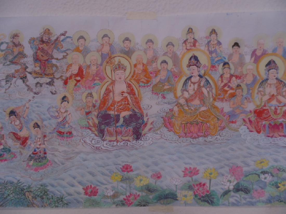 Tibet mural on paper, figures, Buddha's, deities - 4