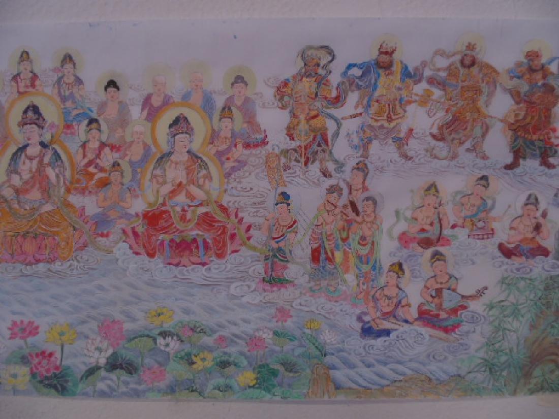 Tibet mural on paper, figures, Buddha's, deities - 5