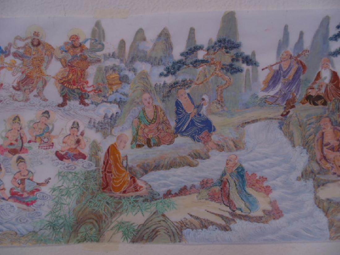 Tibet mural on paper, figures, Buddha's, deities - 6