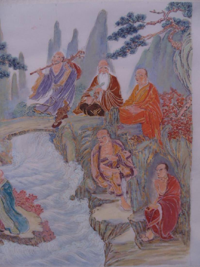 Tibet mural on paper, figures, Buddha's, deities - 7