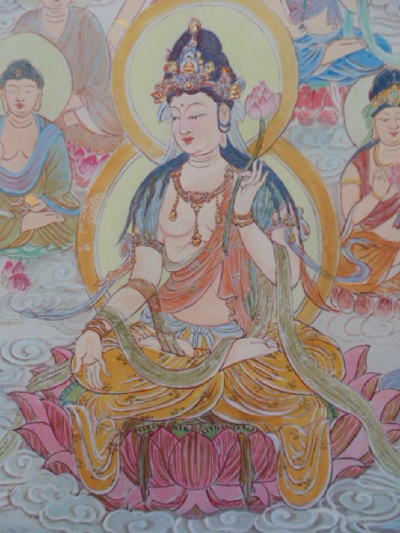 Tibet mural on paper, figures, Buddha's, deities - 8
