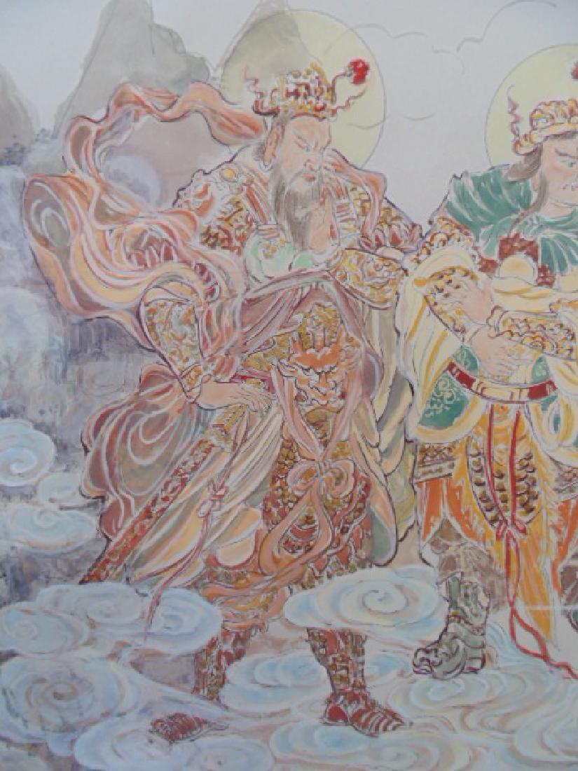 Tibet mural on paper, figures, Buddha's, deities - 9