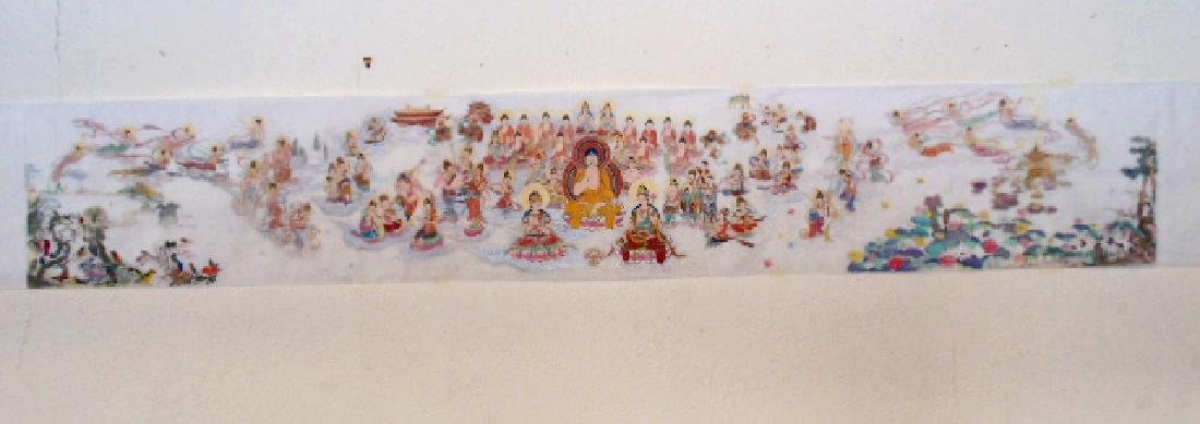 Tibet mural on paper, figures, Buddha's, deities
