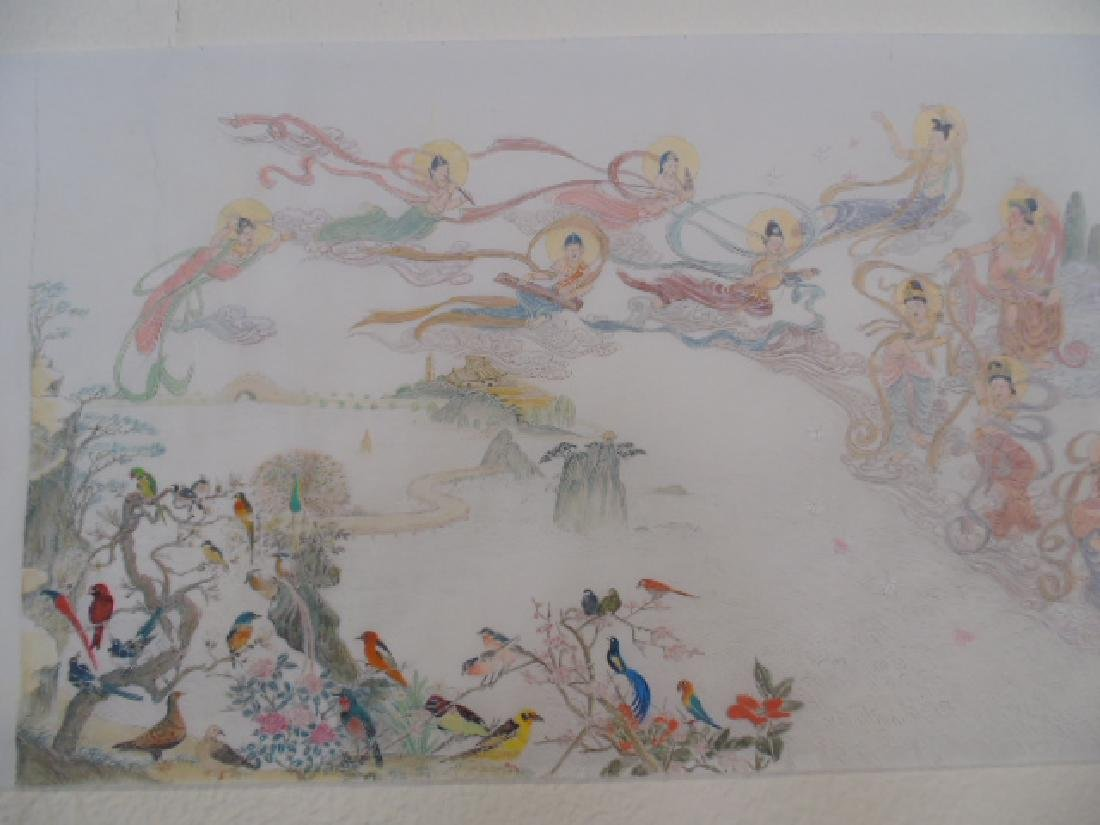 Tibet mural on paper, figures, Buddha's, deities - 2