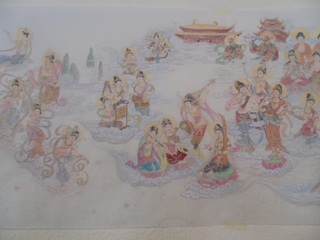 Tibet mural on paper, figures, Buddha's, deities - 3