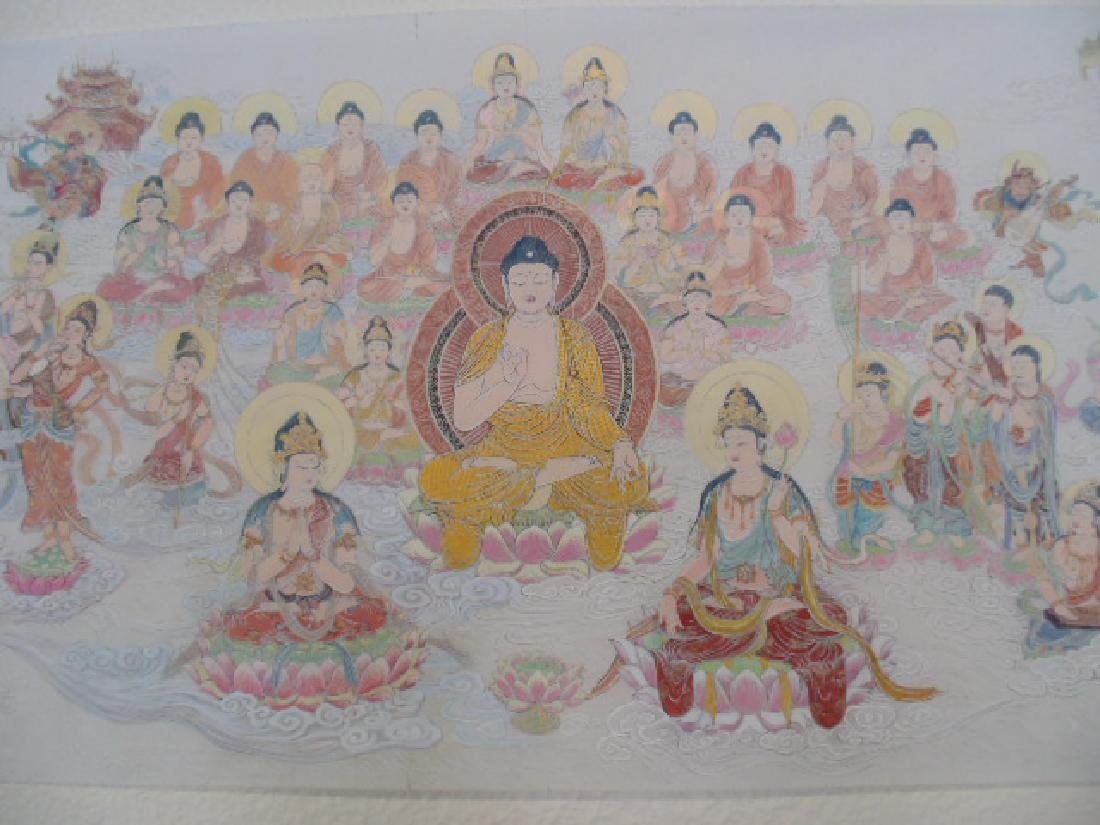 Tibet mural on paper, figures, Buddha's, deities - 4