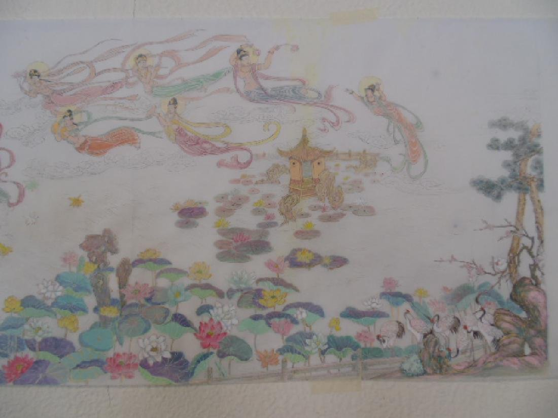 Tibet mural on paper, figures, Buddha's, deities - 6