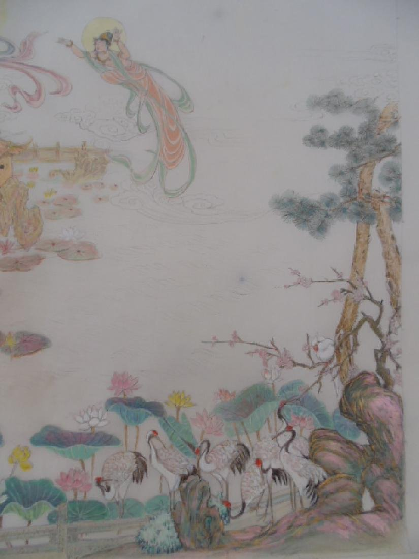 Tibet mural on paper, figures, Buddha's, deities - 7