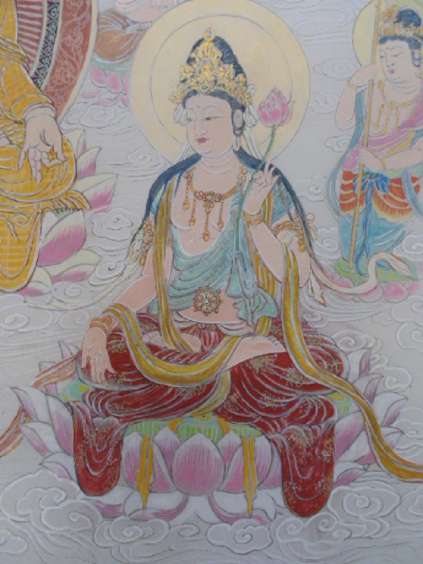 Tibet mural on paper, figures, Buddha's, deities - 8