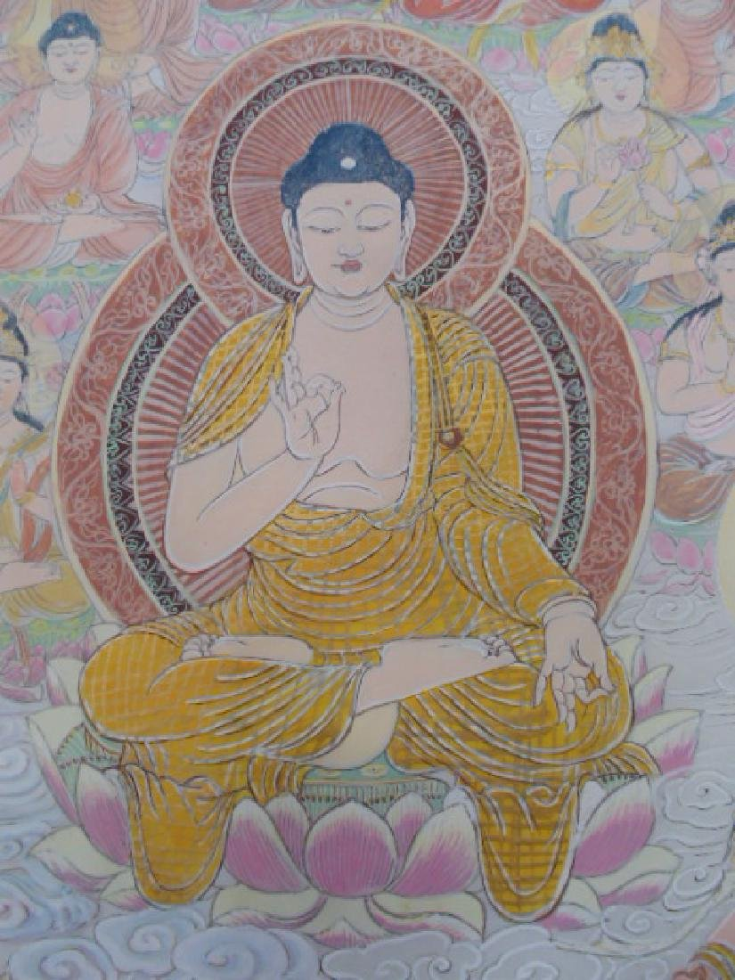 Tibet mural on paper, figures, Buddha's, deities - 9