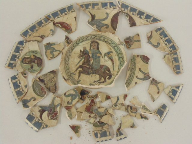 Shards from early Persian pottery piece