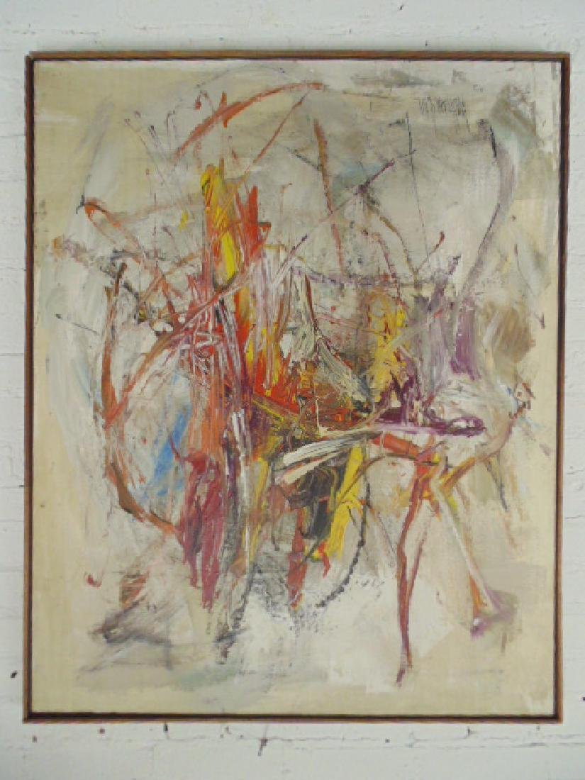 Painting, abstract in colors, signed Gino Hollander